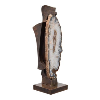 Agate Floor Lamp Attributed to Willy Daro For Sale
