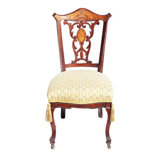 Late 19th Century Victorian Inlaid Side Desk Chair For Sale