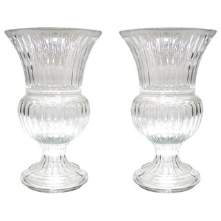 Monumental Neoclassical Gadrooned Glass Urns, a Pair For Sale
