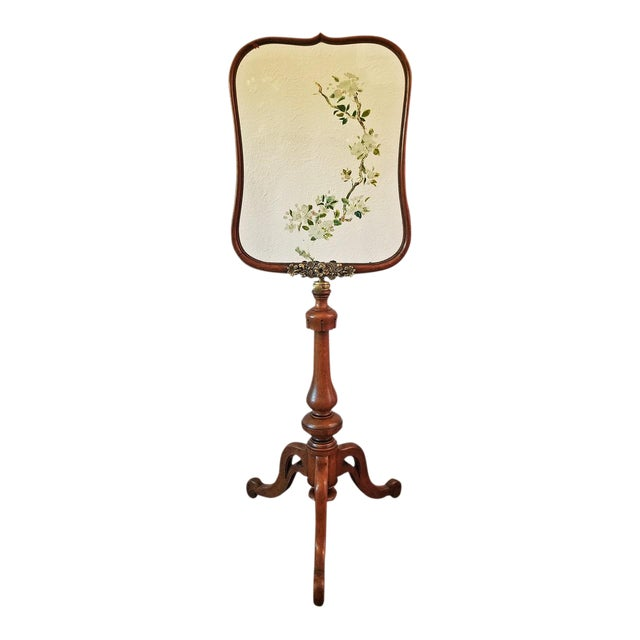 19c Telescopic or Extendable Tripod Based Fire Screen - Walnut With Hand Painted Glass For Sale
