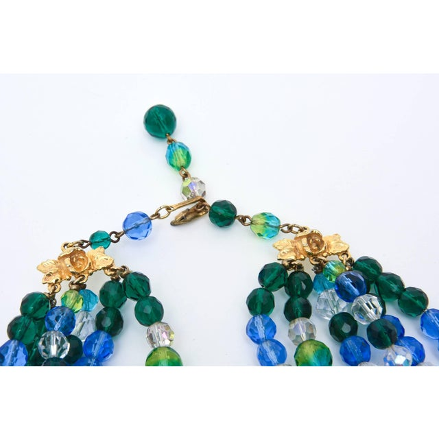 Elsa Schiaparelli Glass Strand Necklace & Clip on Earrings Set of Vintage For Sale In Miami - Image 6 of 11
