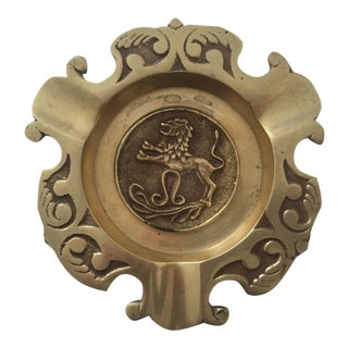 Vintage Mid-Century Imperial Lion Brass Ashtray For Sale
