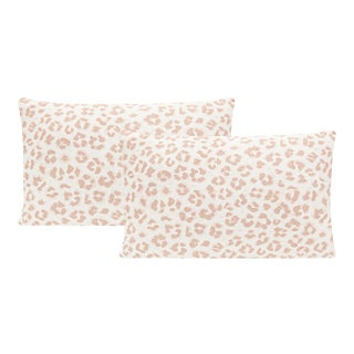 "12"" X 18"" Blush Cougar Linen Print Lumbar Pillows - a Pair For Sale"
