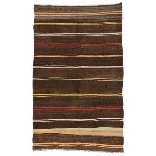 "Vintage Turkish Tribal Style Boho Chic Flat-Weave Kilim Rug - 6'9"" X 10'10"" For Sale"