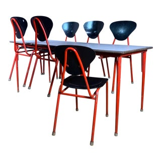 1950s Danish Canteen Table With Six Original Attachable Chairs For Sale