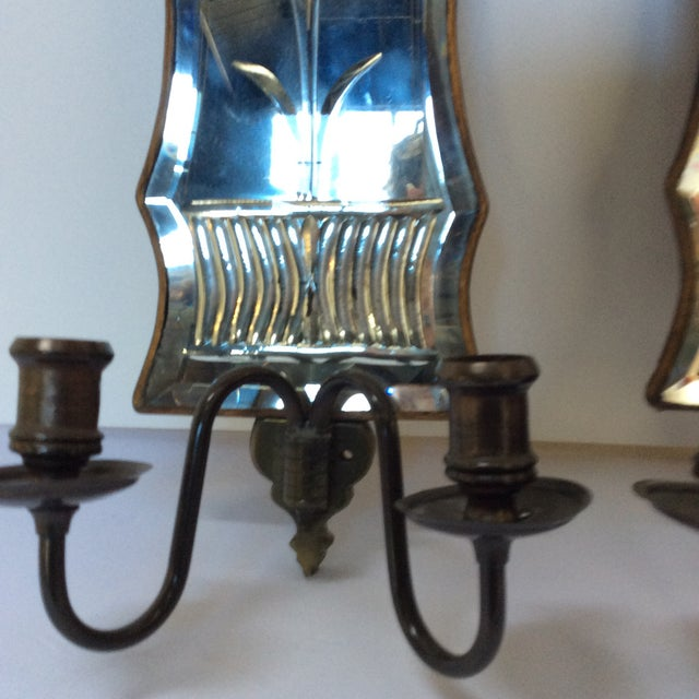 Cut Glass Mirrored Sconces - A Pair - Image 3 of 9