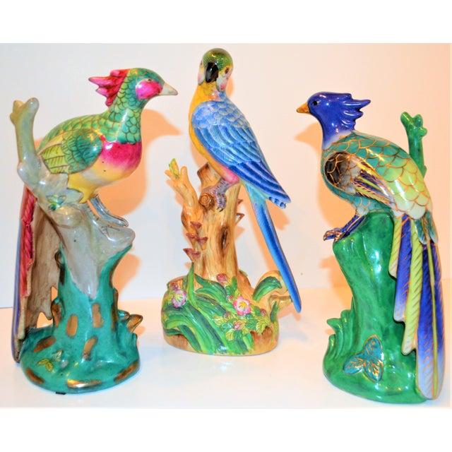 (Final Markdown) 1970s Vintage Majolica Parakeet & Pheonix Figurines - Set of 3 For Sale - Image 11 of 12