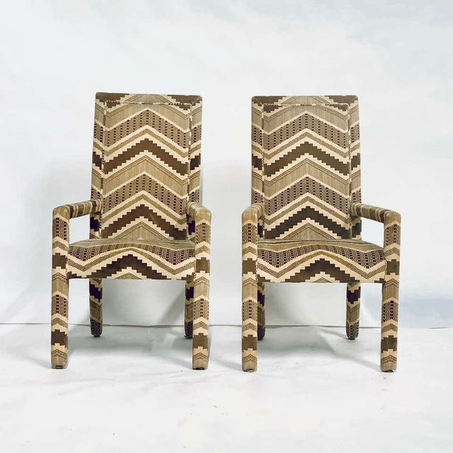 Set of Six 1970s Glam Zig Zag Parsons or Tuxedo Velvet Upholstered Dining Chairs For Sale - Image 9 of 11
