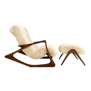 Vladimir Kagan Sculpted Rocking Chair and Ottoman in California Sheepskin For Sale