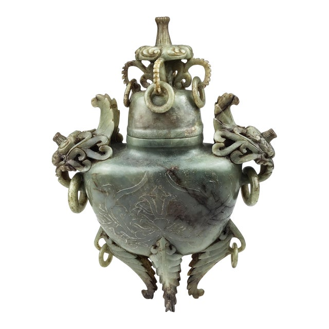 Magnificent Carved Chinese Soapstone Ritual Ewer For Sale