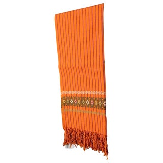 Handmade Chiapas Orange Bed or Table Runner For Sale