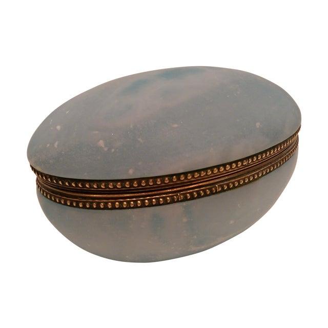 Blue Carved Alabaster Trinket Box with Brass Trim - Image 1 of 6