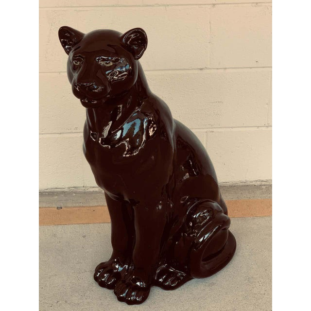 Late 20th Century Pair of Italian Porcelain Seated Black Panthers For Sale - Image 5 of 12
