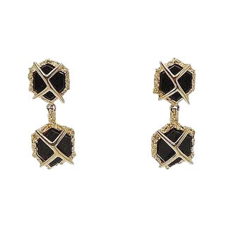 1960s Panetta Modernist Faux-Onyx Rhinestone Drop Earrings For Sale