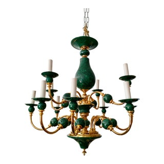 Vintage Fornasetti Style Faux Malachite Chandelier For Sale