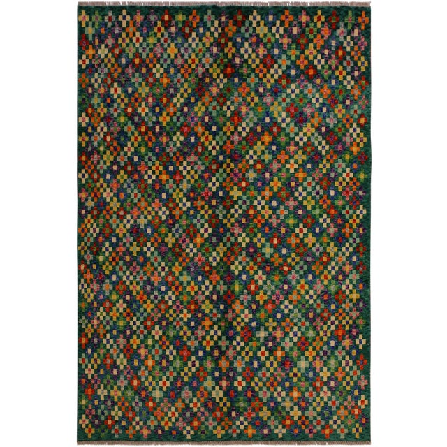 "Balouchi Ali Green/Ivory Wool Rug - 4'11"" X 6'4"" For Sale"