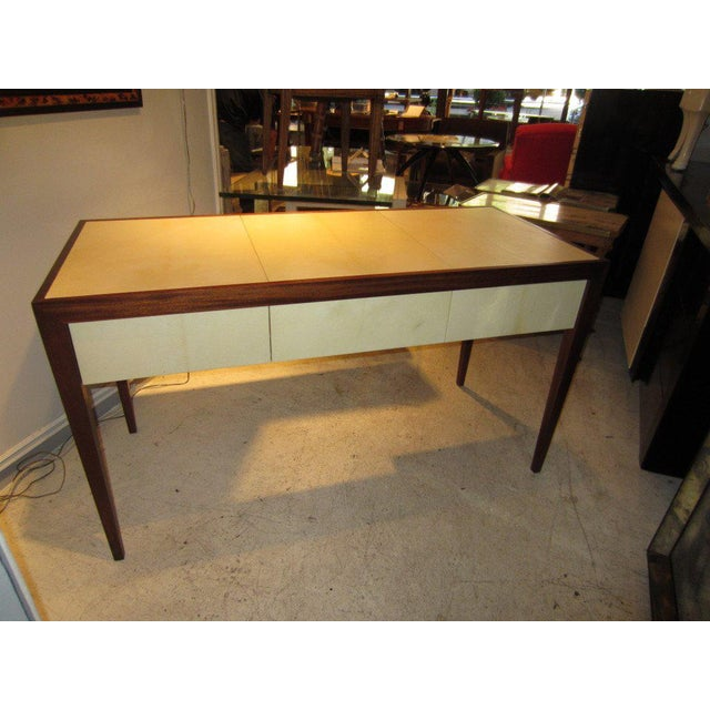 Custom parchment and Mahogany Writing Desk For Sale In New York - Image 6 of 7
