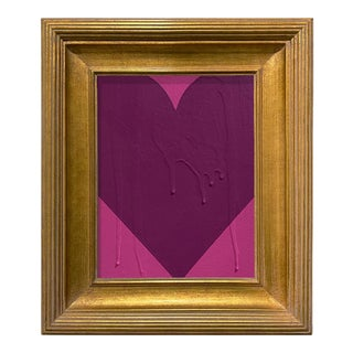 Ron Giusti Mini Heart Pink and Purple Acrylic Painting, Framed For Sale