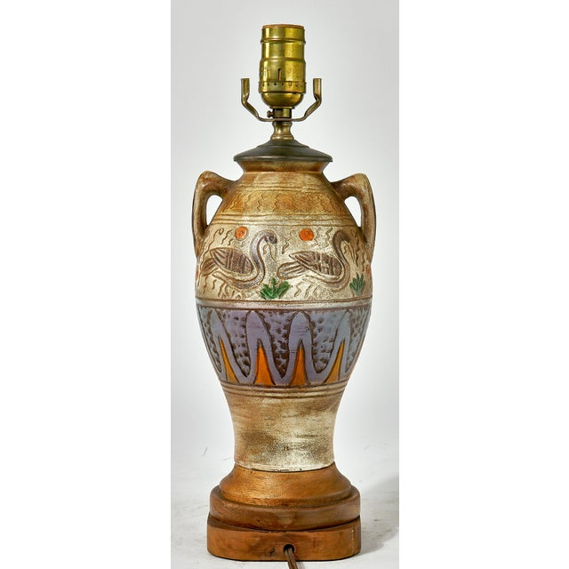 Tribal Village Inspired Ceramic Table Lamp For Sale - Image 4 of 6