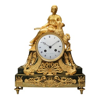 Antique 1820 French Bronze Empire Table/Mantle Clock For Sale
