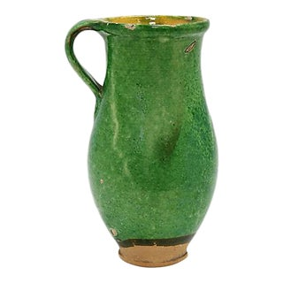 Antique French Green Glazed Terra Cotta Pitcher For Sale