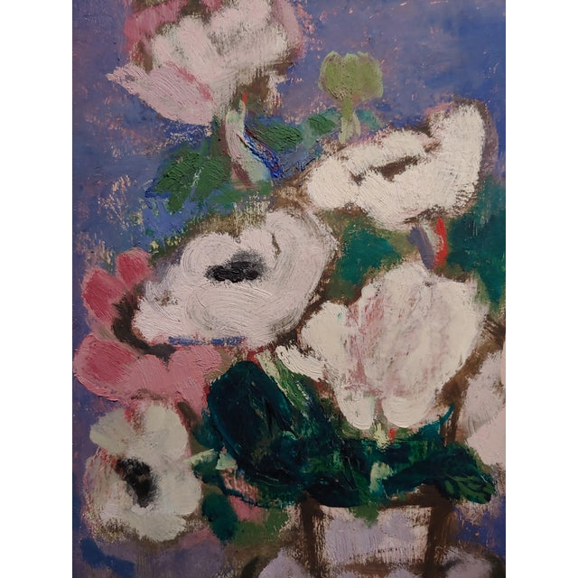 1940s Sarkis Sarkisian Still Life of White Flowers Oil Painting For Sale - Image 5 of 10
