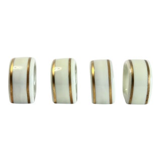 Ivory & Gold Porcelain Napkin Rings - Set of 4 For Sale