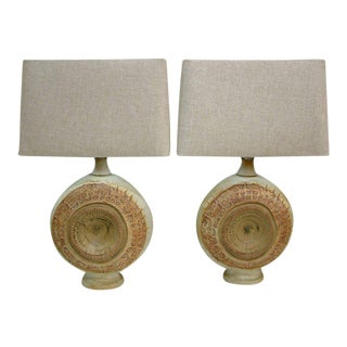 Circa 1970, Bernard Rooke, Brown, Ivory, Tan, Stoneware, Table Lamps - a Pair For Sale