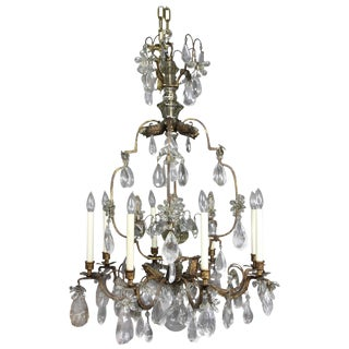 Louis XV Gilded Wrought Iron and Rock Crystal Chandelier For Sale