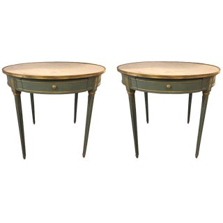 Large Painted Bronze Mounted Marble Top Bouilliotte / Center Tables - a Pair For Sale
