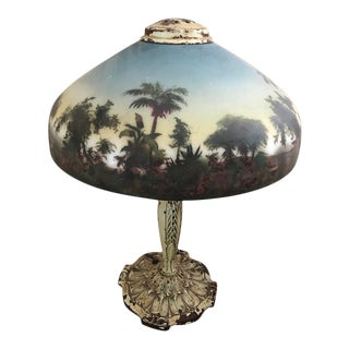 Antique Reverse Painted Scenic Jungle Glass Table Lamp Circa 1900 For Sale