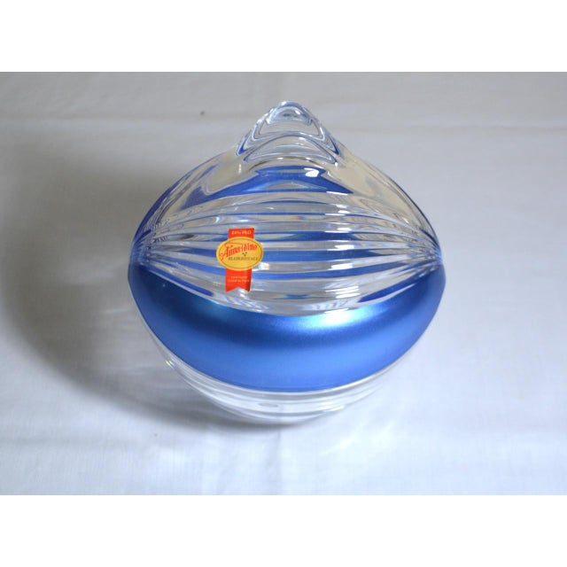 You are viewing a lovely blue and clear art glass bowl and lid by Anna Hutte, with the original paper label on the lid. It...