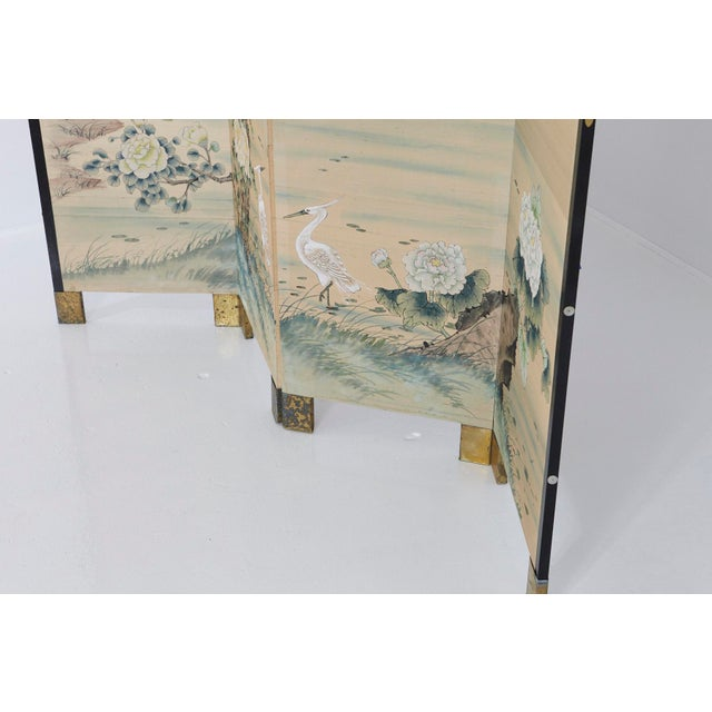 Beige Japanese Four-Panel Floor Silk Screen Landscape With Herons, Circa 1920s For Sale - Image 8 of 13