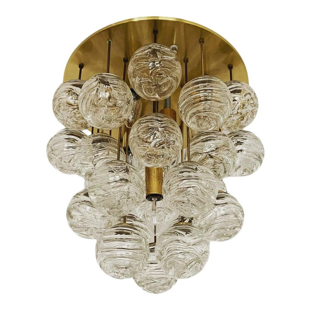 1960s Mid-Century Modern Bubble Murano Glass Flush Lamp by Doria Leuchten For Sale