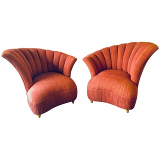 Modern Opposing Fin Back Armchairs - A Pair For Sale