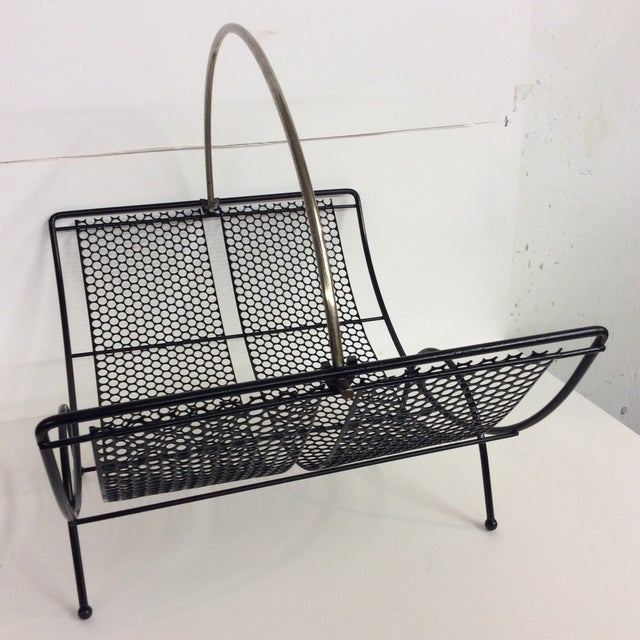 Mid 20th Century Mid-Century Black Pierced Lacquered Metal Firewood Holder For Sale - Image 5 of 8