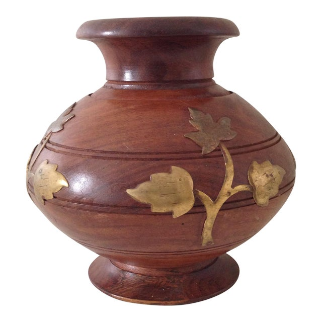 Wood & Brass Vase For Sale
