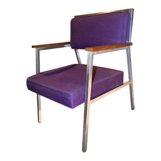 Mid Century Vintage Steelcase Metal Upholstered Purple Arm Chair For Sale