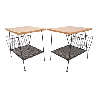 Pair of McCobb Style Side Tables With Magazine Racks by Freda Diamond For Sale