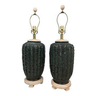 Stunning Chinoiserie Ginger Jar Woven Rattan Lamps—A Pair For Sale