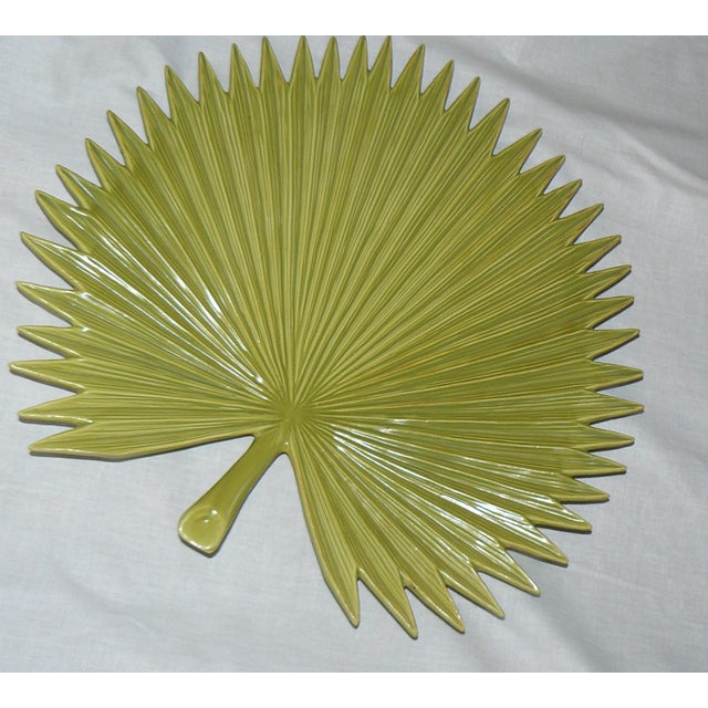 Ceramic Global Views Palm Leaf Platter With Feet For Sale - Image 7 of 9