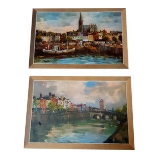Vintage Cityscape Prints From Ireland - Set of 2 For Sale