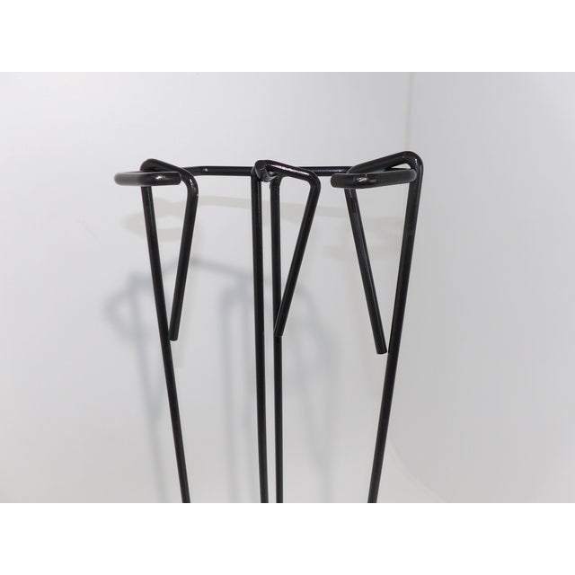 Black Mid-Century Modern Wrought Iron Fireplace Tool Set For Sale - Image 8 of 9