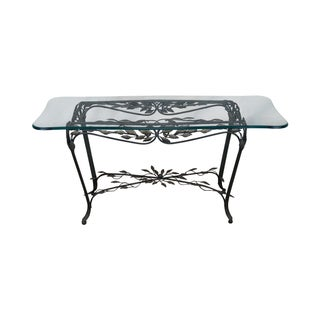 Ornate Leaf Design Iron Glass Top Table Console For Sale