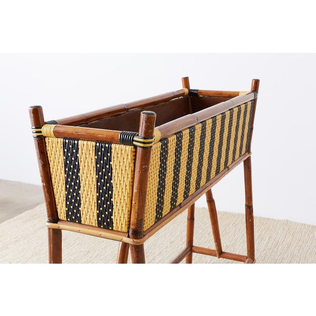 Late 20th Century French Maison Gatti Bamboo Rattan Jardinière Planter For Sale - Image 5 of 13