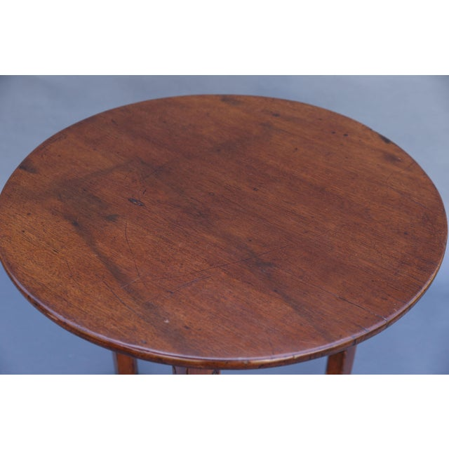 Antique English Chestnut Cricket Table, One Board Top For Sale In Houston - Image 6 of 9