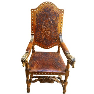 Early 18th Century Spanish Baroque Style Brass Studded & Tooled Leather Chair For Sale