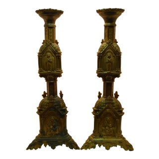 Gothic Revival Brass Candlesticks - a Pair For Sale