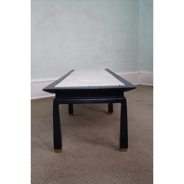 James Mont James Mont Mid Century Ebonized Marble Top Table For Sale - Image 4 of 10