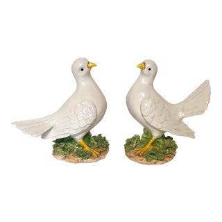 Italian Porcelain Bird Figures - a Pair